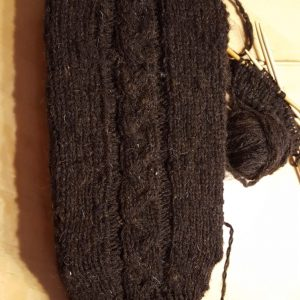 Leg Warmers Black Cheviot Skein( hand spun wool)