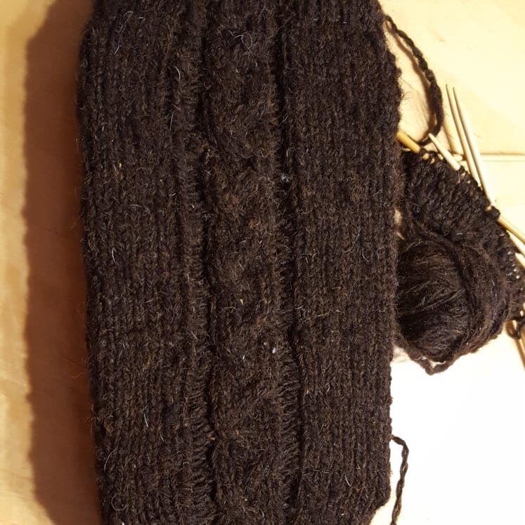 Leg Warmers Black Cheviot Skein( hand spun wool)